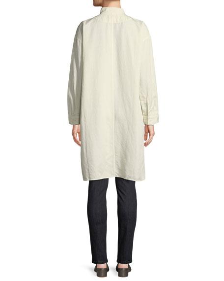 Knee-Length Stand-Collar Jacket