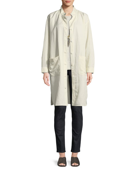Knee-Length Stand-Collar Jacket, Plus Size