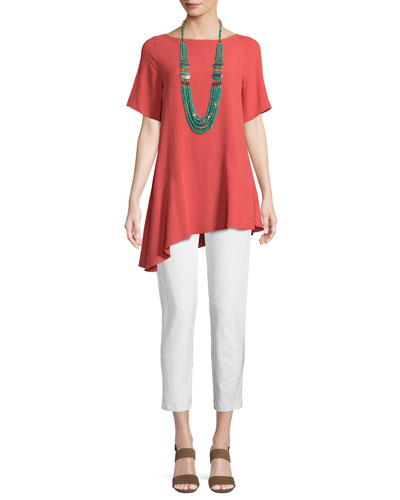 Silk Georgette Asymmetric-Hem Top and Matching Items