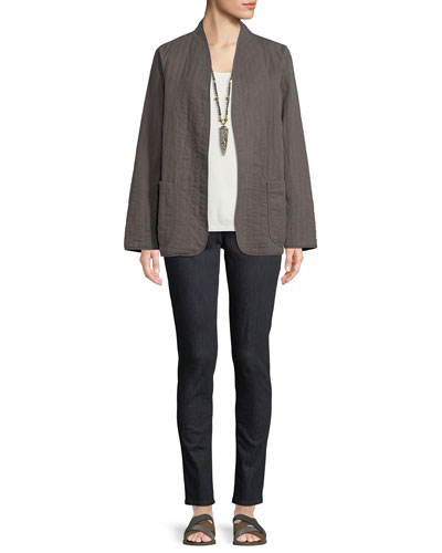 Quilted Linen Slub High-Collar Jacket and Matching Items