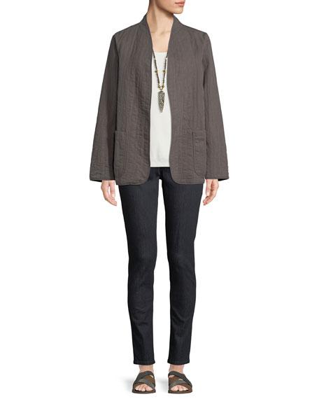 Quilted Linen Slub High-Collar Jacket, Petite