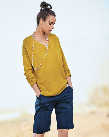 Linen Knit V-Neck Top