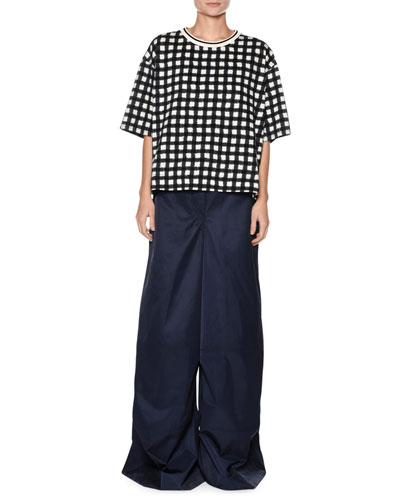 Short-Sleeve Cotton Jersey Check Oversized Shirt and Matching Items