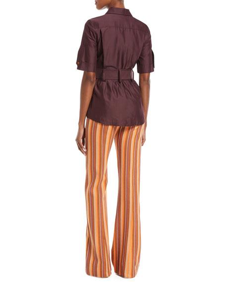 Short-Sleeve Belted Utility Shirt