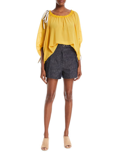 Scoop-Neck Balloon-Sleeve Silk Blouse with Drawstring Detail and Matching Items