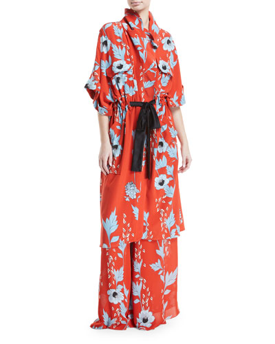 Camino Real Persa Garden-Print Silk Robe-Style Caftan  and Matching Items