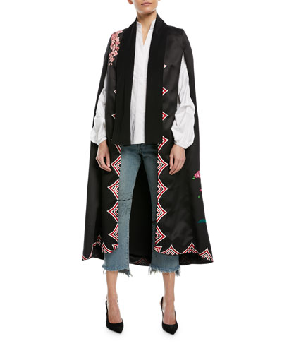 Bizantino Satin Twill Embroidered Cape and Matching Items