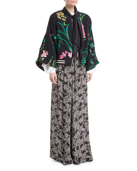 Perla Negra Satin Twill Embroidered Short Kimono Cape