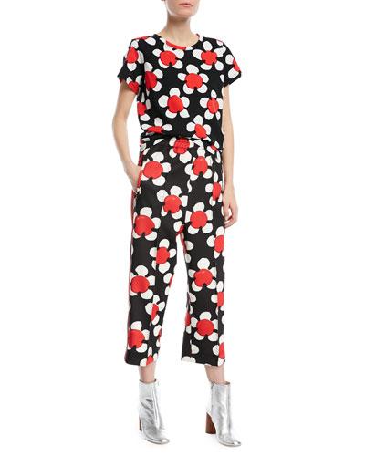 Daisy-Print Crewneck Short-Sleeve Tee and Matching Items