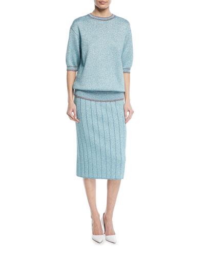 Short-Sleeve Crewneck Metallic Knit Top and Matching Items