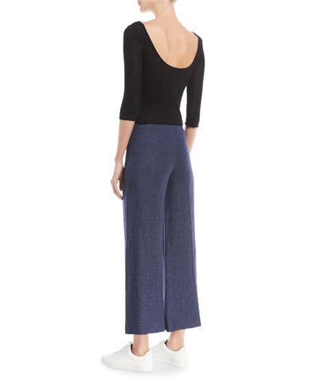 Scoop-Neck 3/4-Sleeve Prosecco Knit Bodysuit