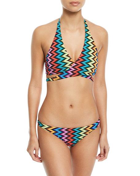 Printed Halter Bikini Swim Top