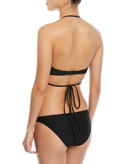 Wave-Jacquard Wrap Halter Swim Top