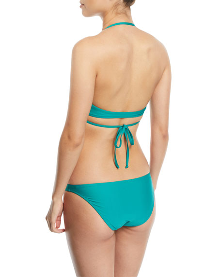 Solid Wraparound Halter Bikini Swim Top