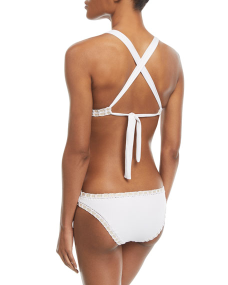 Crochet-Trim Triangle Swim Top (Available in D Cup), White/Gold