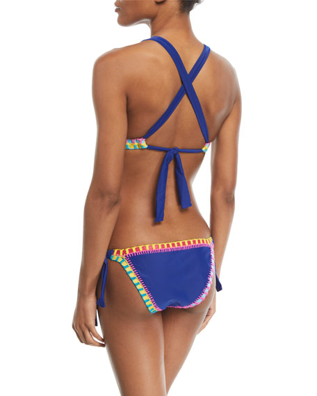 Crochet-Trim Triangle Swim Top (Available in D Cup), Blue