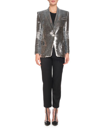Single-Breasted Sequined Paillette Jacket and Matching Items