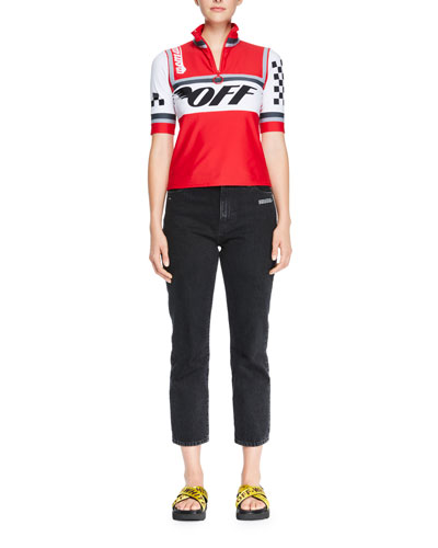 Cycling Racer-Print Zip-Front Top and Matching Items