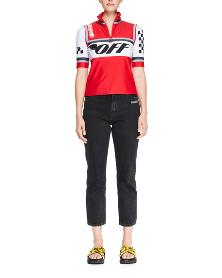 Cycling Racer-Print Zip-Front Top