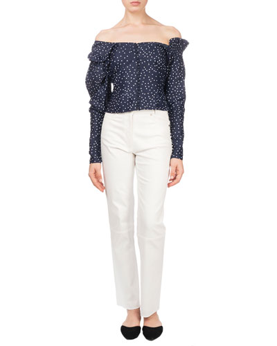 Vannes Off-the-Shoulder Polka-Dot Fitted Top and Matching Items
