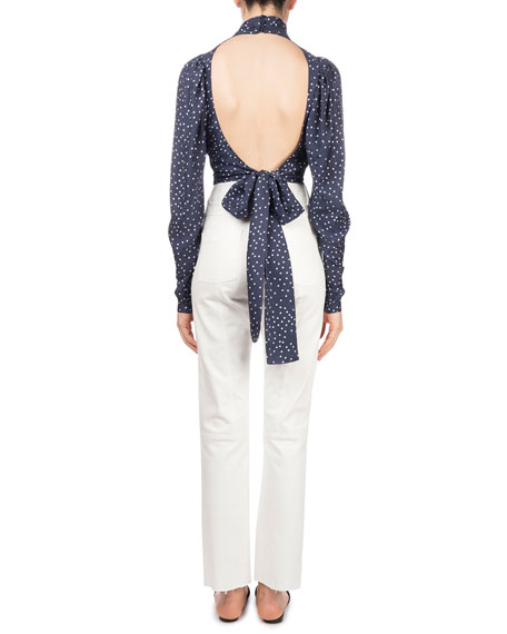Noto Polka-Dot Silk Open-Back Cropped Blouse
