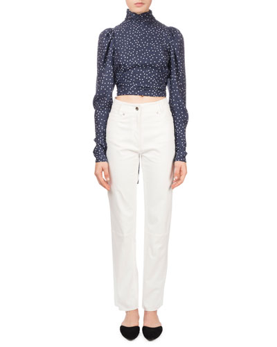 Noto Polka-Dot Silk Open-Back Cropped Blouse and Matching Items