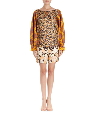 Canote Silk Leopard Blouse w/ Foulard Balloon Sleeves  and Matching Items