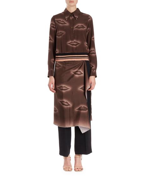 Cordi Silk Lip-Print Blouse w/ Knit Waistband