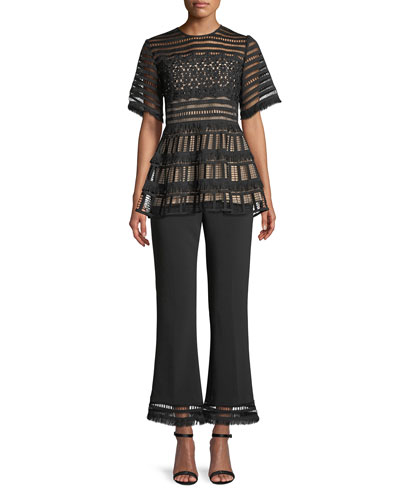 Fringe Peplum Guipure Lace Top and Matching Items