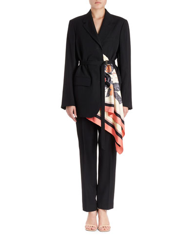 Bacchu Jacket Blazer w/ Attached Foulard Side Wrap  and Matching Items
