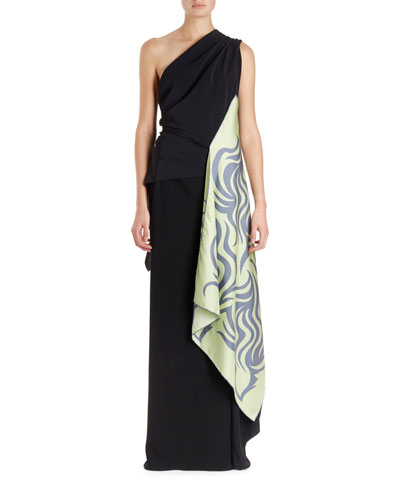 Cremy One-Shoulder Gown w/Foulard Sash and Matching Items