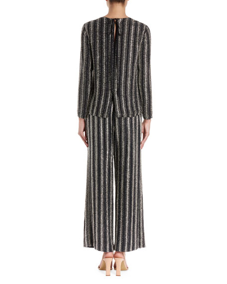 Caius Long-Sleeve Open-Back Striped Sequin Tunic