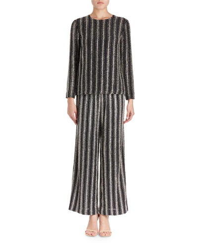 Caius Long-Sleeve Open-Back Striped Sequin Tunic  and Matching Items