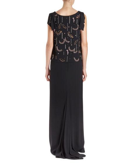 Certus Sleeveless Drape Blouse w/ Spontaneous Embellishment