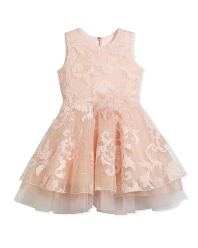 Embellished Tulle Swing Dress, Pink, Size 2-6X  and Matching Items
