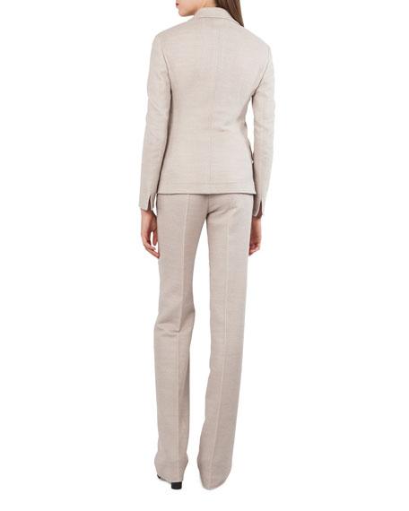 Wool Cotton Piqué 3-Button Blazer Jacket