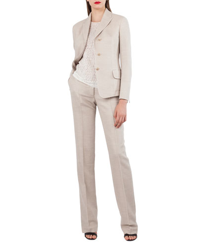 Wool Cotton Piqué 3-Button Blazer Jacket and Matching Items