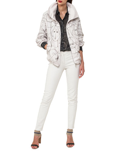 Zip-Front Short Parka Jacket with Faces-Print and Matching Items