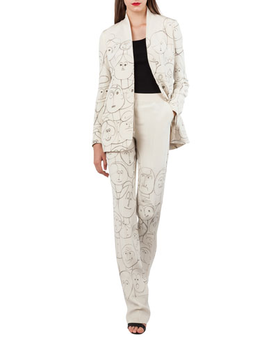 Oliana Snap-Front Silk Crepe Jacket with Faces-Print and Matching Items