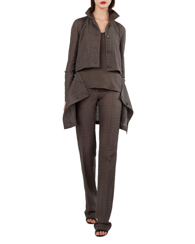 Button-Front Ajouré Silk Cotton Jacket with Detachable Hem and Matching Items