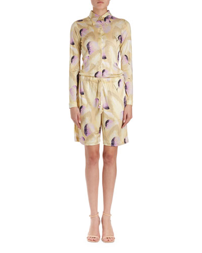 Helio Long-Sleeve Collared Floral Blouse  and Matching Items