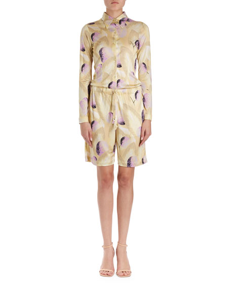 Helio Long-Sleeve Collared Floral Blouse