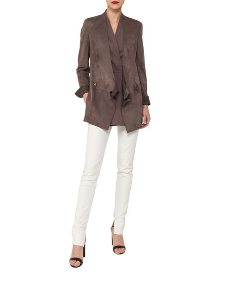 Asymmetric Buckle Closure Leather Cardigan Jacket