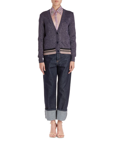 Jacy V-Neck Lurex Cardigan Sweater  and Matching Items