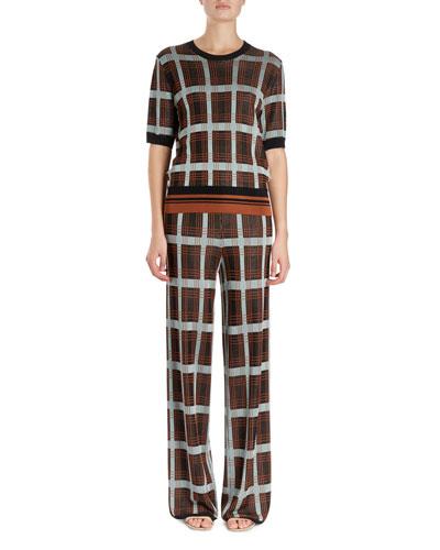 Janelle Plaid Crewneck Sweater w/ Knit Waistband  and Matching Items
