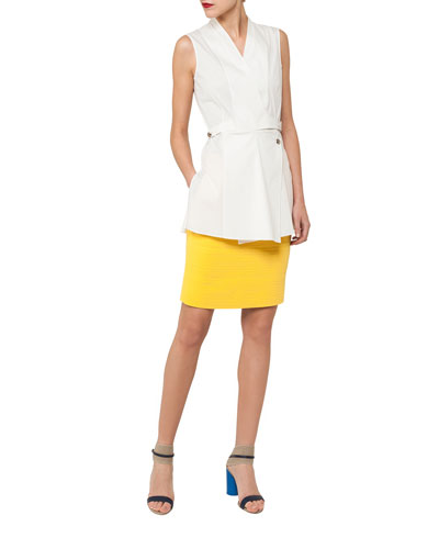 Sleeveless Wrap-Front Buckle Cotton Poplin Blouse and Matching Items