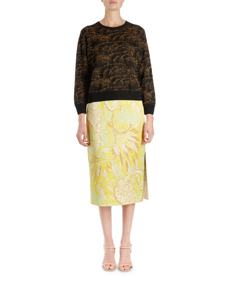 Janique Long-Sleeve Spontaneous Palm Pullover Sweater