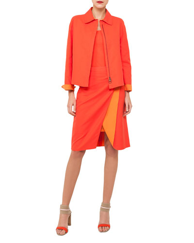 Natalie Zip-Front Double-Face Bicolor Cotton Jacket and Matching Items
