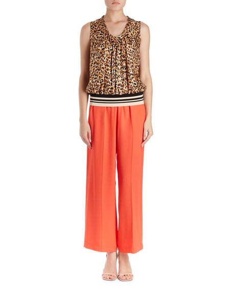 Cemian Leopard-Print Sleeveless Silk Blouse w/ Striped Knit Waistband