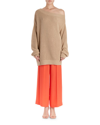 Jazma Oversized Shaker-Knit Off-Shoulder Sweater  and Matching Items